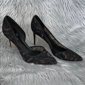 Lace Marc Fisher d'orsay black pumps heels